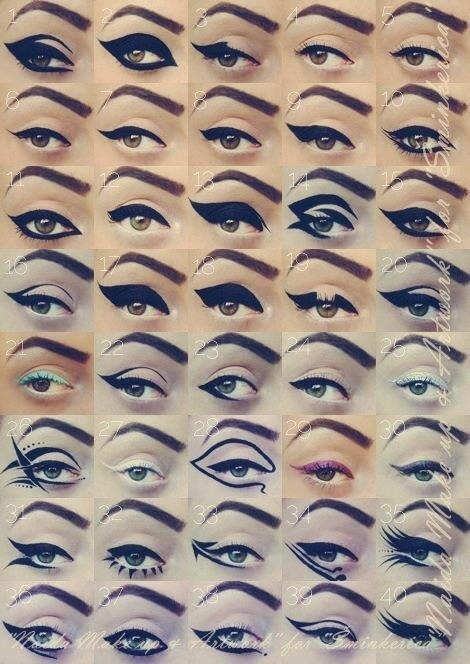 skin-beauty-fashion:  Really amazing liner shapes! by maida makeup.