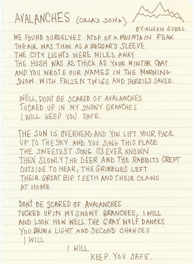 "[A Fine Frenzy's Ali Sudol Shares Her Handwritten Lyrics To ""Avalanches""] Been looking forward to her new album for MONTHS…"