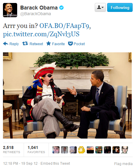 thedailywhat:  Obama Thinks It's Talk TO A Pirate Day: Poor lil president — he got confused. [@barackobama]