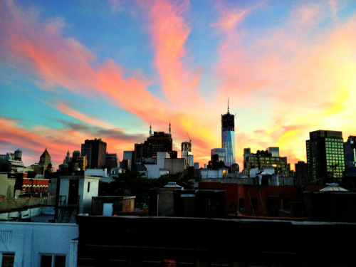 austinvegas-photography:  NYC sunset from my roof deck - WTC tower's coming up in the background