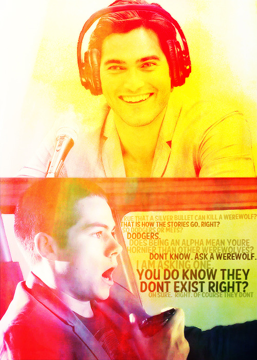 "livx18:  AU Meme: Derek Hale is the host of a nightly Radio Show called ""Moon Cycle"". Stiles is the boy who keeps calling with bizarre questions because he is 100% certain that Derek is, in fact, a werewolf. [requested by anonymous] So if I visit you on a full moon, you won't be some rabid wolf? Well…I wouldn't be rabid."