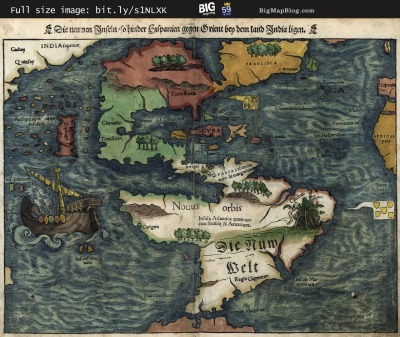 Map: Munster's Map of the New World (1550) originally posted to the BIG Map Blog.