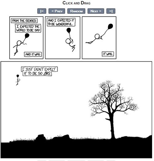 "thedailywhat:  Click-And-Drag Comic Masterpiece of the Day: Webcomic XKCD's latest offering, ""Click and Drag,"" goes far beyond the image you see here. If you read it on the site, you'll discover a truly astounding time-waster that must have taken ages to complete. If you're feeling less patient, someone has compiled the entire map in a zoomable window. [xkcd]"