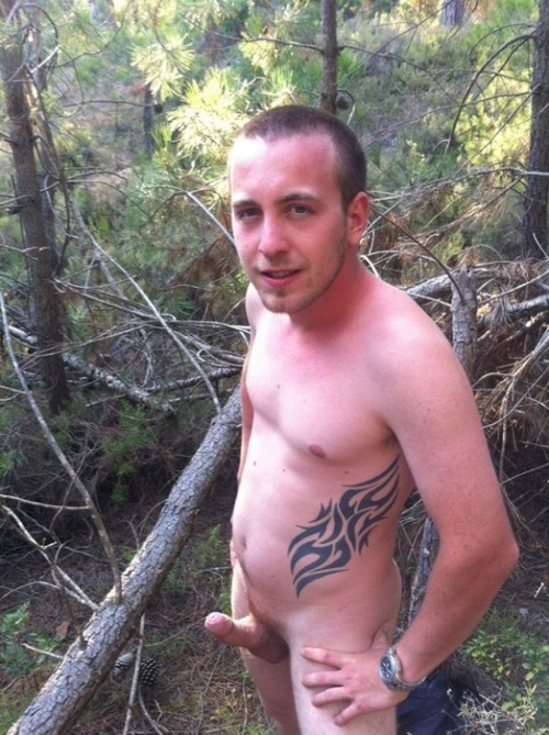 Straight naked frat boy in the woods with an erection.