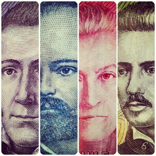 laestrellasolitaria:  Nice Chilean currency montage from lucidrugs. Peso values from left-to-right: 2000 - Manuel Rodríguez Erdoíza (lawyer and guerrilla leader) 10000 - Captain Arturo Prat (lawyer and navy officer) 5000 - Gabriela Mistral (poet, educator, diplomat, and feminist) 1000 - Ignacio Carrera Pinto (19th-century war hero)