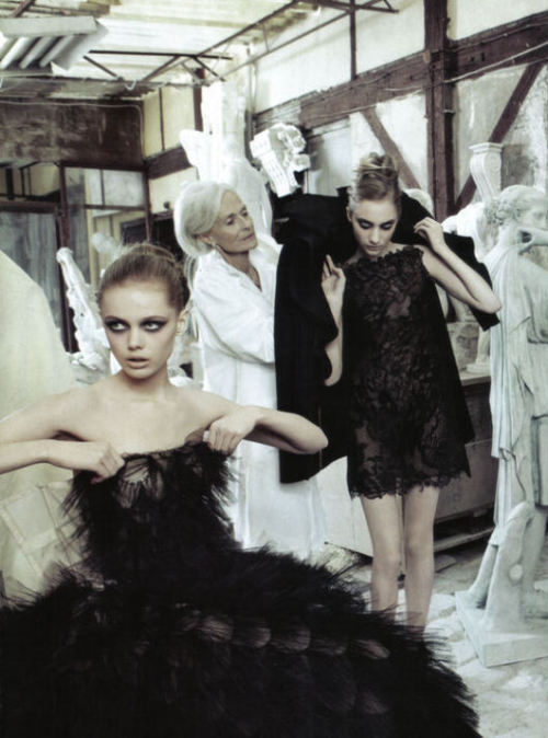 Frida Gustavsson and Hanna Rundlöf for Valentino Fall Couture, 2009.