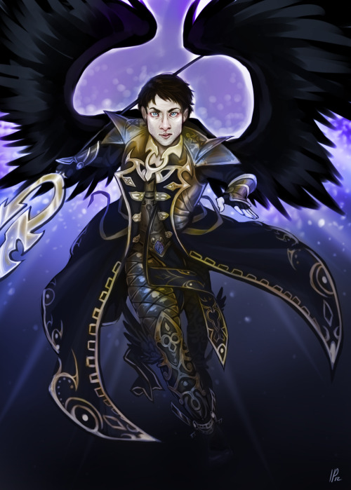identitypollution:  Avacyn (Magic card type) Castiel! Commissioned by a good friend, Rudy. This is the first of a set of 4 that will be made into Token cards for her magic deck. You can also buy this as a print for $8(+$2-3 shipping) here!
