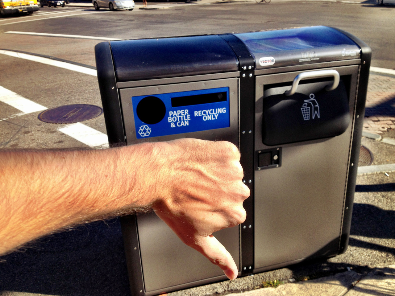 Don't get me wrong, I'm psyched that they put a recycling bin and a solar compactor at Harvard & Brighton. It's just that the bins are basically ON the crosswalk. Over/under on how many days until one of these gets creamed by a curb-hopping car?