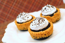 Mini Pumpkin Oreo Cheesecake: 2-8 oz pkgs. cream cheese, softened. 1/2 c. sugar 2 eggs 2 tbsp. sour cream 1 tsp. vanilla 1/2 c. canned pumpkin 1 tsp. cinnamon 48 oreos 1 c. cool whip  Preheat oven to 350* Place cupcake liners in a muffin pan. Beat the cream cheese until creamy. Add the sugar and cream again. Add the eggs one at a time beating after each one. Add the rest of the ingredients and beat again. Place one whole oreo in the bottom of the cupcake liners and fill the liner 3/4 full with the cheesecake batter. Push another whole oreo into the top of the batter. Bake for 20-22 minutes. Cool in pan for 15-20 min before removing and placing on a wire rack to finish cooling. Keep refrigerated. Top with whipped cream and oreo sprinkles before serving. Makes 24.