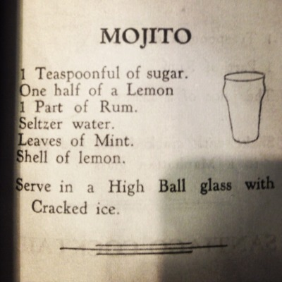 One of the oldest printed recipes for a mojito. It mistakenly calls for lemon, but we hear it's pretty tasty that way too. (Thanks to Four Pound Flour for the recipe!)