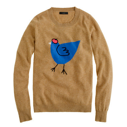 I sort of hate J. Crew (blasphemy, I know), but I'm totally smitten with this cute French Hen sweater. One of my favorite fashion bloggers wore it here and it's so awesome!