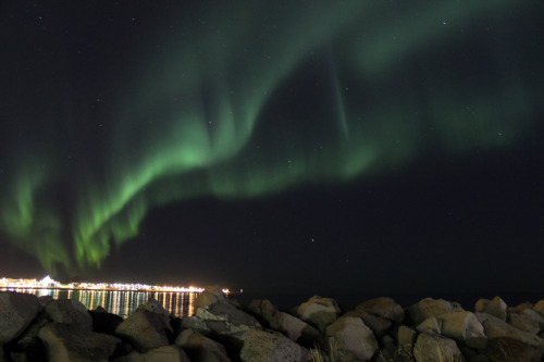 a brilliant display of the northern lights in reykjavik, iceland