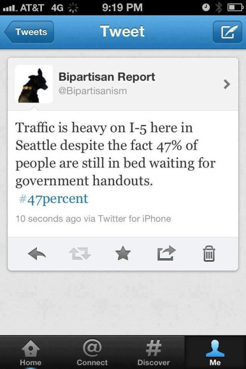 47% of lazy slobs are clogging up traffic in Seattle on the I-5.