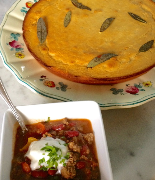 Red Bean Chili & Honey Sage Skillet Cornbread that filled the house with the most amazing scent while baking. Get the recipe here.