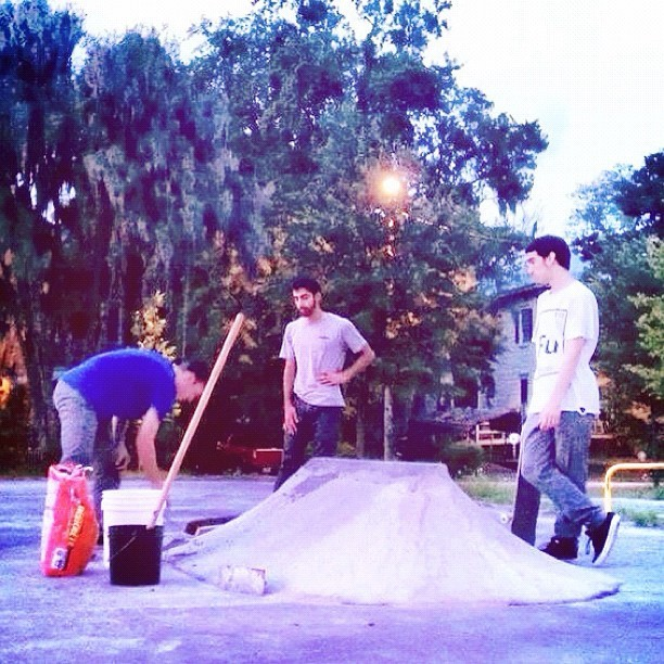 Spot repair. (don't skate until 9/21. Concrete has to dry fools! With @a_haters_hater @plaincruz_89 photo @wes_coast  #diy #skateboarding #savannah #georgia  (Taken with Instagram)