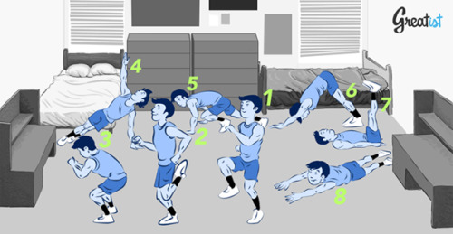 "8 Body Weight Exercises for Any Dorm Room   1. High KneesTargets: Quads, glutes, calves, shins (anterior tibialis), hip flexors, ups that heart rateHow to: This could piss off your downstairs neighbor even more. But go ahead, we understand putting cardio before others' quietude. Run in place, bringing the knees above hip level. Pro tip: Keep your hands in front of you at hip level, palms down, and try and slap 'em with your knees to get the most out of this one. Or, pump your arms like a sprinter, elbows at 90 degree angles, and pump those arms fast. (Your legs will ALWAYS go as fast as your arms go!) Land on the balls of your feet (not your heels) for 10-second bursts, working up to 30-second sprints. Aim for 3-5 sets with 20 seconds of rest in between. 2. Butt KicksTargets: Hamstrings, quads, glutes, calves, shins (tibialis), aaand heart rateHow to: Ready to kick things up a notch? Keep running in place, but this time kick your heels to your butt with each stride. Go as fast as you can for 3-5 rounds of 20-30 second bursts, 20 seconds of rest between each. 3. Jump SquatsTargets: Quads, glutes, calves, shins (anterior tibialis)How to: Granted, if you're on the top floor, you may piss someone off. But this is a wonderful way to get back at your downstairs neighbor for pumping the bass during finals week. To start: Stand with your feet hip-width, toes forward. Sit back into a squat then drive your whole body up through your heels, shifting your weight onto the balls of your feet as you lift off. Be sure to land on the balls of your feet and immediately bend the knees into a full squat. Aim for three sets of 10-15 reps.Pro tip: If you can do these in front of a mirror, make sure your knees aren't wobbling side to side while you squat or land. 4. T Push-UpsTargets: Chest, triceps, shoulders, core, lats, adductors, abductorsHow to: Cramming for an exam? Hit the floor between chapters to help you think.Place the hands slightly wider than the shoulders and lower yourself down, tucking your elbows to your sides. Keep your chin from jutting forward (your chest should graze the floor first — not your head, hips, or anything else). (Pro tip: draw your shoulder blades in and down the back to protect your rotator cuffs.) As you push up (keep that back straight!), shift your weight to your right side, lift your left arm off the floor, and rotate your torso to face the wall. Inhale here. On the exhale, carefully rotate the torso towards the floor, catching your weight with a slightly bent left arm. Lower down. Push up and, this time, balance on your left side, lift your right arm and rotate your torso towards the opposite wall. That's one. Shoot for three sets of 7-10 reps.Modification: Can't support your full bodyweight? Stick to the standard push-up but do 'em with your knees on the floor. 5. Mountain ClimbersTargets: Chest, shoulders, triceps, core, hip flexors, hamstrings, quadsHow to: Remember high knees from exercise #1? This is the same, but face down in the push-up position. Start by hiking your left knee towards the chest. Then quickly get that leg back and pop your right knee up to the chest. Go as fast as you can for 3-5 sets of 30-second bursts. Pro tip: As tempting as it may be, don't bounce your booty into the air — keep as close to a straight arm plank as possible. And if that isn't hard enough, make sure you only ever have one foot on the ground at a time (so that ""high"" leg isn't tapping down and bouncing). 6. Down-Dog to Up-DogTargets: Shoulders, arms, shoulders, back, shoulders, and coreHow to: Now don't get too comfy on the floor. Move into downward facing dog — hands pushing into the floor, torso straight, butt in the air, balls of the feet on the ground, heels driving down. Shift your weight forward so you're in a push-up position. Lower down, place your knees on the floor, then shift to the tops of your feet as you push through to upward facing dog, arching your spine. Tilt the pelvis forward to protect the back. Inhale, exhale. On the next inhalation, lift the hips up and back to where you began. Repeat 5-10 times through, at your own pace. 7. Leg LiftsTargets: Hip flexors, abdominals, obliquesHow to: Lie down on the floor. Press your lower back against the ground. Put your hands under your butt or beside your hips. From here, lift your legs straight up to a 90 degree angle, then lower back down until they hover just above the floor without touching. Aim for three sets of 10 to 15 reps.Modification:Assume the same position and motion, but carry it all out with bent knees, toes tapping the floor on each rep. Feeling discomfort in the low back? With a stable core, try alternating legs instead. 8. SupermansTargets: Low back, lats, shouldersHow to: No cape? No problem. Simply roll onto the belly, and reach your arms above your head, keeping the legs straight. Lift your right arm and left leg at the same time, squeeze your glutes and low back muscles, then lower each and lift your left arm and right leg. That's one. Shoot for three sets of 10- 15 reps. Option: fight crime simultaneously."