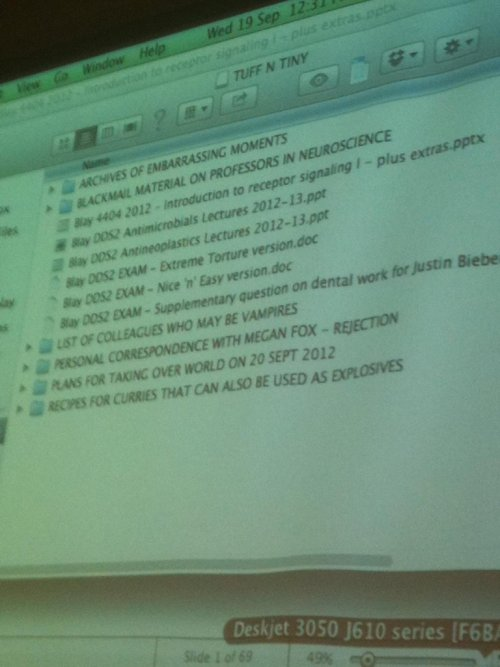xtooyoungtocare:  starrysleeper:  high-blogging:   while my prof was setting up for his lecture…   gold  excuse me while I reblog this for the 36th time  OMG best prof ever!