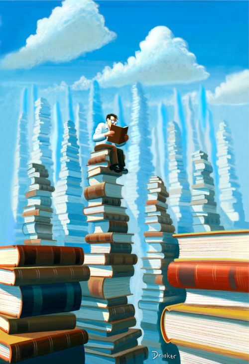 """Bookopolis,"" an illustration by Eric Drooker for the November, 2006 issue of The New Yorker Magazine."