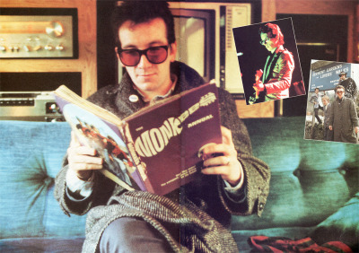 carlislesimms:  Elvis Costello reading the Monkees Annual (scanned by me).