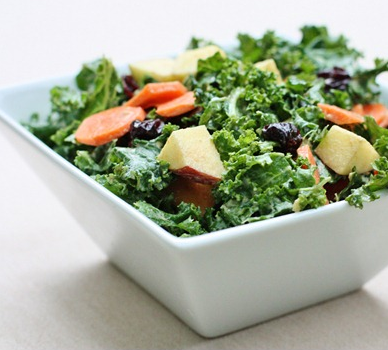 findvegan:  Kale salad with apples, raisins, carrots, creamy curry dressing
