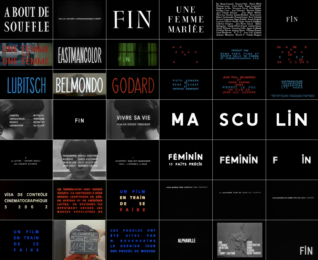frenchcinema: The typography of Jean-Luc Godard (related: bande a part title stills)