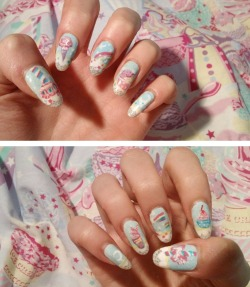 actuallyalice:  Milky planet nails!!!!!11!! There are not enough exclamation points on my keyboard to express how !!!!1!!1 I am.