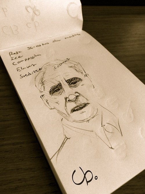 Another professor drawing in my moleskine. http://chrisblakeart.tumblr.com/