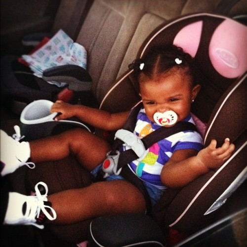 "Stink got her ""Big Girl""car seat too…💞 She is getting so big..only 13 Months!  (Taken with Instagram)"
