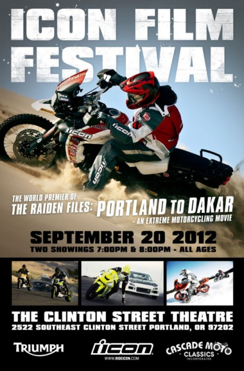 "Icon Motosports' ""Portland to Dakar"" film premiere tomorrow night. This is going to be so good!"