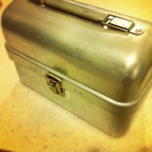 Lunchtime! Soon to be mini moto side case. #lunch #vintage #lunchbox #moto #motorcycle (Taken with Instagram)