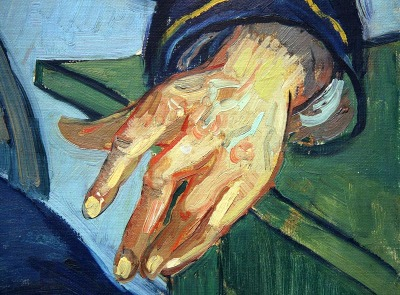 "Portrait of the Postman Joseph Roulin (Detail), Vincent van Gogh, 1888  Clearly, Van Gogh must have felt that Postman Joseph Roulin's hand best represents his entire being. By portraying just this one body part alone, Van Gogh redefines the term, ""portrait""."