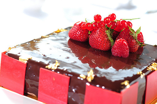 Raspberry chocolate cake.