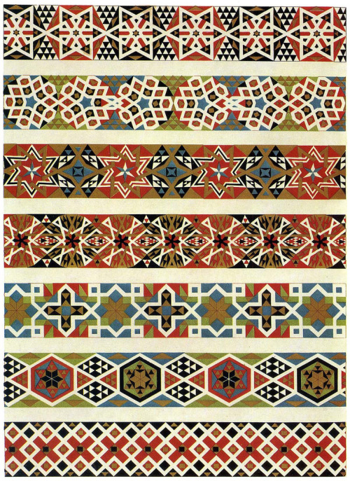 Mosaic border designs from a Sicilian church, produced in the 12th century. Via.