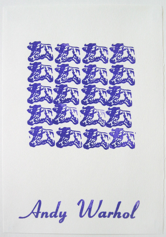 thewarholfactory:  Purple Cow Stamps, 1967 by Andy Warhol