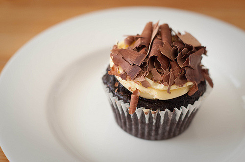 Chocolate vanilla cupcake.