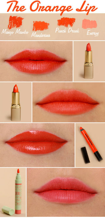 1. Milani Color Perfect Lipstick in Mango Mambo: A coral-red meets red-orange lip color that is perfect if you're trying orange hues for the first time, or if you have ANY coral-red hanging in your closet.    2. Milani Color Perfect Lipstick in Mandarina: Classic orange with a hint of red, this color will fit perfectly in your lipstick collection and pairs well with the ongoing tropical prints trend.    3. Urban Decay Super-Saturated High Gloss Lip Color in Punch Drunk: Creamy and by far the orange-iest of the looks we tried, this color is a high-powered, dramatic, and very urban indeed.   4. Pixi Lip Blush in Energy: A long-lasting lip stain that is sort of peachy and has a delicate shimmer. This color is great for you minimalists out there, and pairs well with pastels.