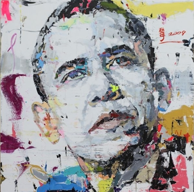 "artnet:  Portrait of Obama Obama (2008), by emerging Chinese Contemporary artist Ren Zhenyu, is one of the most culturally relevant bold Neo-Pop portraits of the President. This iconic image of Obama looking ""into the future"" was used throughout the US Presidential campaign of 2008.  This work is Ren at his best; it juxtaposes a spectrum of bright colors with definite brush strokes to create a unique, powerful, and poignant depiction of Obama. Explore the complete China Now: Contemporary Art sale, which is now live on artnet Auctions.   Truly amazing peice loving the color good job !:)"