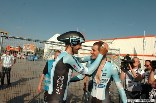 Tom Boonen post race after winning the 2012 Team Time Trial World Championship with a fellow Omega Pharma-Quickstep team mate.  via steephill.tv