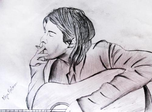 winter-and-sweater:  Kurt Cobain sketch made by me. :]