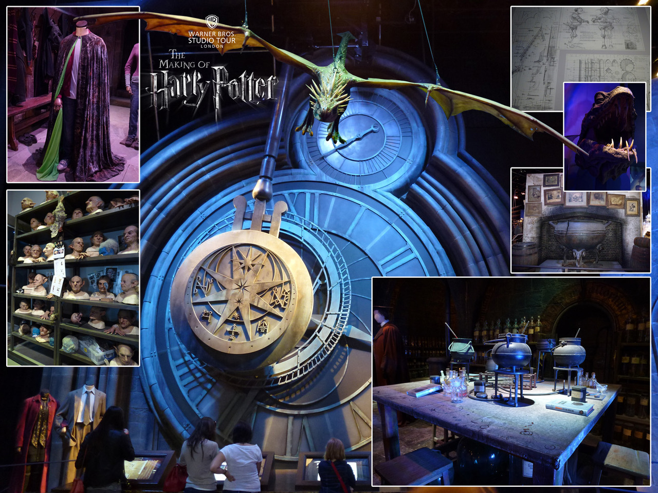 Photos from the Warner Bros Studio Tour - The Making of Harry Potter. Main: Hogwarts Clockface. Clockwise from top left: Invisibility Cloak costume with greenscreen interior lining. Suspended dragon model. Technical drawings of sets and props. Lifesize Basilisk Head. The Leaky Cauldron. Potions classroom. Goblin prosthetics.