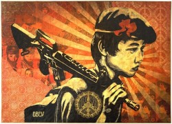 """The Duality of Humanity"" by Shepard Fairey This piece is inspired by a peace-sign wearing US soldier in Vietnam. Fairey sees a strong parallel between the Vietnam war and the Iraq war. Fairey says that his show addresses the ""human struggle between good and bad, hope and fear"". One of the show's central pieces is a child with a gun in his hand and a flower in his hat. The theme of soldiers and weapons bearing peace signs, or peace signs comprised of military effects, runs through many pieces in the show. Environmental themes also appear in some pieces, illustrating the tenuous balance between our dangerously uncontrolled consumption of non-renewable resources, and our well intentioned eco-concerns. Suffering and hope are seamlessly merged in a visual mash-up that defies expectations and easy answers."