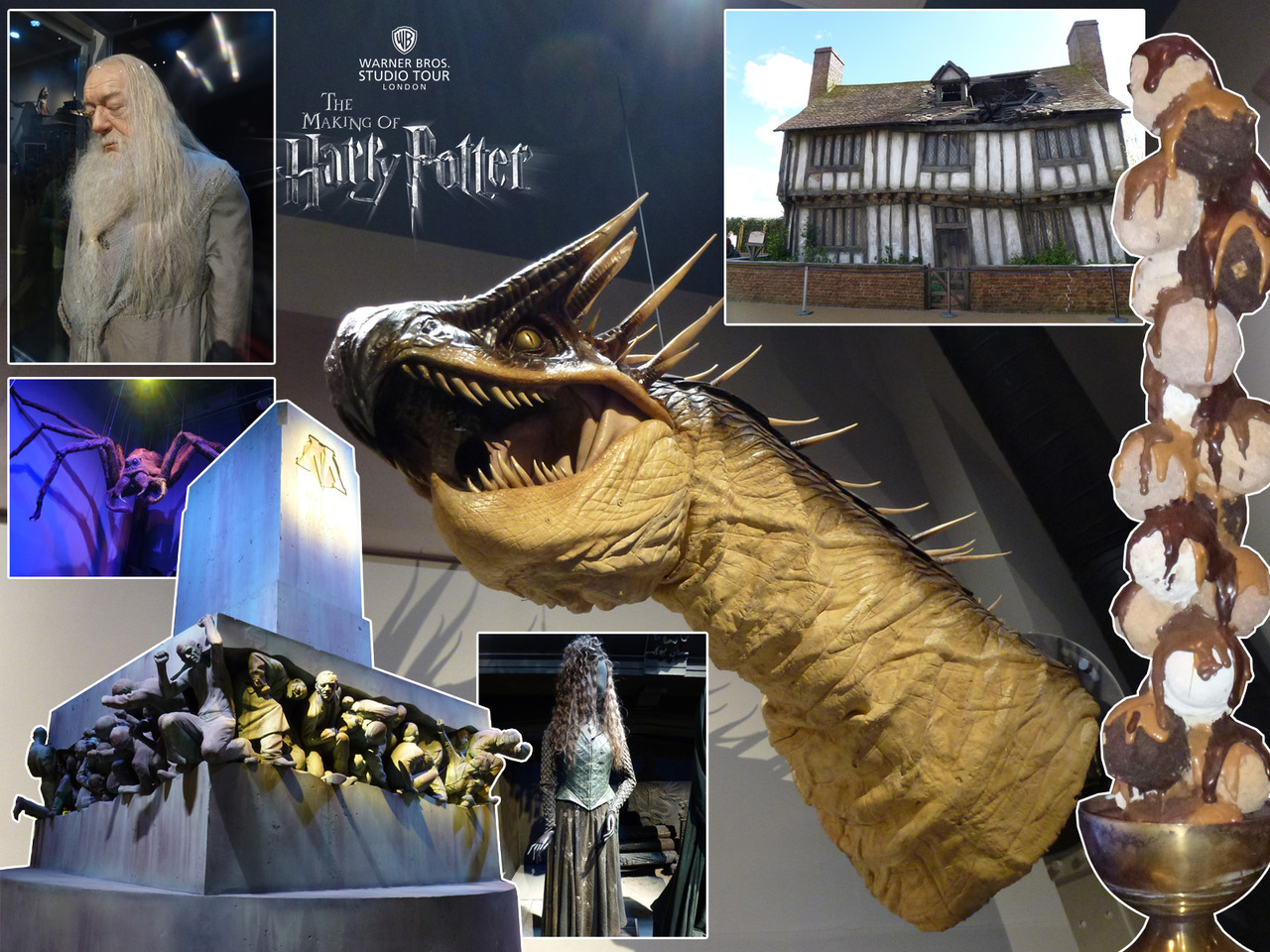 "Photos from the Warner Bros Studio Tour - The Making of Harry Potter. Main: Lifesize Hungarian Horntail head. Clockwise from top left: Scarily realistic Dumbledore (Michael Gambon) model. The Potters' cottage in Godric's Hollow. A cast resin ice cream dessert. Bellatrix LeStrange (Helena Bonham Carter)'s costume. Full-size Ministry of Magic ""Magic Is Might"" statue. Full-size animatronic Aragog."
