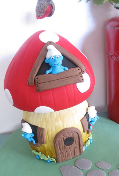 Smurf Cake by Baking Addict on Flickr.