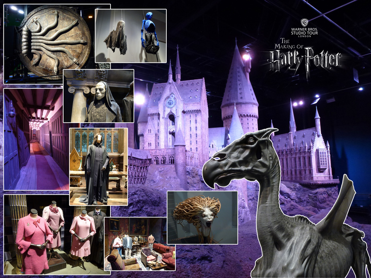 Photos from the Warner Bros Studio Tour - The Making of Harry Potter. Main: Breathtakingly huge 1:24 scale model of Hogwarts and grounds. Clockwise from top left: Fullsize Chamber of Secrets door with mechanical snakes. Dementor costume and bluescreen harness. Lifesize Thestral. Prosthetic mermaid head. The Gryffindor common room with principal cast third year costumes. Dolores Umbridge (Imelda Staunton)'s costumes from Order of the Phoenix. Severus Snape (Alan Rickman)'s costume. Forced perspective hallway set. Death Eater costume and mask.