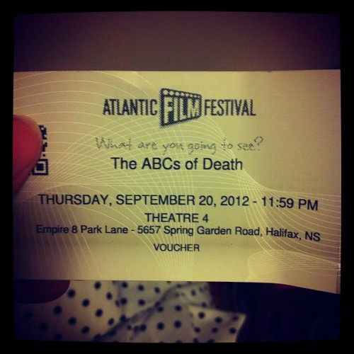 Excited to see the #ABCsofDeath tonight at #AFF with @kateleth and @lksangster (Taken with Instagram)