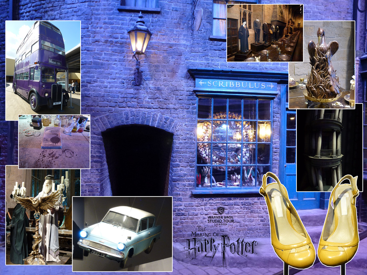 Photos from the Warner Bros Studio Tour - The Making of Harry Potter. Main: Walking through the Diagon Alley set. Clockwise from top left: The Knight Bus. The Great Hall walk-through set with Gryffindor costumes. A real chocolate phoenix (kept in storage for 7 years, but still edible!) Gringotts Bank exterior miniature. I found Luna Lovegood (Evanna Lynch)'s shoes. The Weasleys' Ford Anglia. Albus Dumbledore (Michael Gambon)'s costume and Great Hall owl lectern. Advanced Potion Making prop.