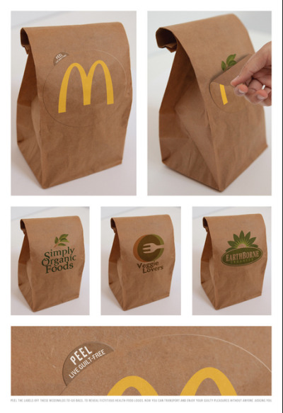 Live Guilt Free, McDonald's Sticker on Recycled Bag