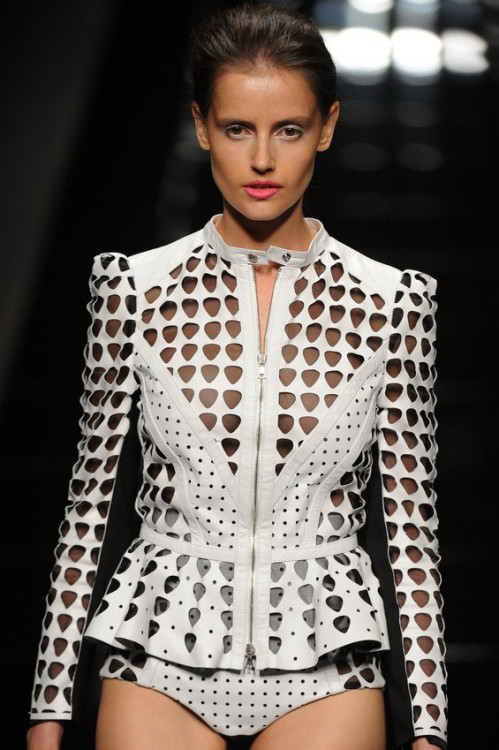 wgsn:  There were some great laser-cut and perforated leathers at John Richmond during #mfw day one yesterday