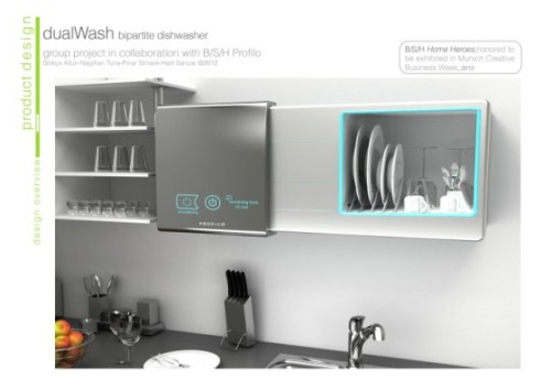 Waterless Dishwasher From Turkey Cleans up After Every Meal || Green Prophet Turkish designers who anticipate severe water shortages in the next few decades have designed the dualWash – a waterless dish washer that cleans single dishes after every single use. Mitigating huge stacks of dirty dishes and waste water resources, the dual dishwasher and cabinet uses carbon dioxide to rid dishes of crumbs and sauce and other things that insects and rodents love to eat.  As part of a collaborative project that was recognized recently at the Munich Creative Business Week, the dualWash dishwasher was designed by Gökçe Altun, Nagihan Tuna, Pınar Şimşek, and Halit Sancar. Although we're not so well-versed on the efficacy of using CO2 to wash dishes, its low surface tension is said to facilitate an even spread over dirty dishes. And for super-soiled plates and solid particles, a charged gas phase is used and particles are captured in a nifty filter. When full and disgusting, preferably before either, the filter is easily removed and cleaned. Best of all, apart from the fact that this design was born in Turkey, after every bowl of cereal or plate of hummus, users can put their plate on the dishwasher cabinet and whoosh, it will be clean in an instant. Hopefully it will perform as well as it sounds, because if it does, this could revolutionize life for all the women in the MENA region who labor over their family's dishes – especially on big holidays like Eid and Rosh Hashanah.