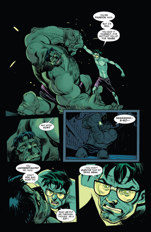 "paterputativus:  When you consider all the daddy issues Bruce Banner has (and the struggles in between), that he consider his father a monster (Even going as far as to say his family had a monster gene), the fact that he wants to be as different from his father as he can be aaand the fact that when he gets angry he looses control of his body and mind (Like any enraged person, but you know, green an big) like a monster, then you suddenly realize Hulk is one of the most psychologically complex (and damaged) of the ""main"" Marvel characters."